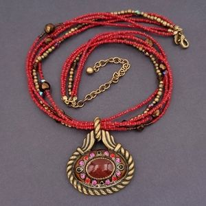 Chico's Red and Gold Bead Necklace